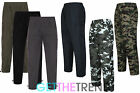 Mens Thermal Fleece Cargo Combat Trousers Mens Camo Plain Trouser Pants M-XXXL