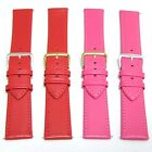 22 mm Red / Pink Women Watch Band Thin Leather Strap w Gold or Silver Buckle