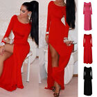 Sexy Occident Women Long Sleeve Crew Neck High Bandage Party Split Pub Dress A