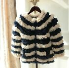 0559 Genuine Knitted Women Real New Rabbit Fur Coat Jacket Trench Outwear Parka
