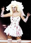 FANCY DRESS HALLOWEEN BLOODY ZOMBIE BRIDE DRESS+ARM WARMERS+VEIL 8-18 GW 2452