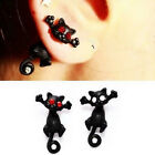 Red Crystal-1pc Punk Black Stereoscopic Cat Kitten Impalement Stud Earring