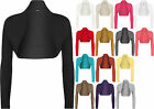 New Womens Long Sleeve Plain Ladies Cropped Short Shrug Bolero Cardigan Top 8-14