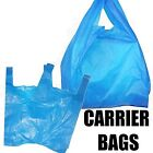 PLASTIC VEST CARRIER BAGS BLUE FOR PACKAGING STORAGE SHOPS STALLS MARKETS ETC UK