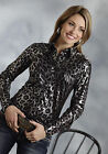 Roper Womens Black 100% Polyester L/S Retro Shiney Leopard Snap Western Shirt