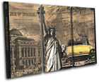 New York City Taxi Liberty  Vintage CANVAS WALL ART Picture Print VA