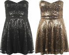 New Womens Sequin Zip Back Flared Sleeveless Strappy Bustier Ladies Mini Dress