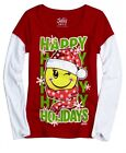 NWT Justice GirlsHappy Holidays Smile Face Zapper X-Mas Tee Top U Pick Size NEW