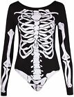Womens New Haloween Bones Skeleton Print Ladies Long Sleeve Leotard Bodysuit Top