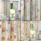BIRDCAGE BIRDS FLORAL CHIC BUTTERFLY VINTAGE LINED PAIR READY MADE CURTAINS NEW