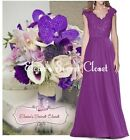 HELENA Purple Chiffon Lace Bridesmaid Ballgown Prom Maxi Dress UK Sizes 6 -18