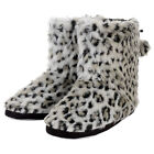 Womens Faux Fur Snow Leopard Animal Print Lined Bootie Slippers With Pompoms New