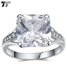 Luxury TT 18K White Gold GP 10mm Princess Cut Engagement Wedding Ring (RF112)