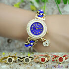 Womens Fashion HEART Pendant Watches Rhinestone Thread Geneva Quartz Watch