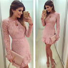 Womens Lady Casual Lace Crochet Long Sleeve Evening Party Cocktail Mini Dress