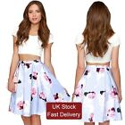 WOMEN 2 PCS SETS WHITE TOP FLORAL SKIRT PARTY CLUB SHORT SLEEVE SUMMER DRESS HOT