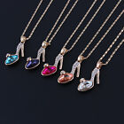 Girls Charming Cinderella's Crystal High Heel Shoes Pendant Necklace Jewelry I