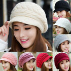 Women Winter Warm Knit Crochet Slouch Baggy Beanie Hat Crochet Ski Cap Beret
