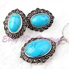 Oval Blue Turquoise Marcasite Tibetan Silver Classical Lady Pendant Earrring