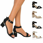Ladies Womens Block Mid Low Chunky Heels Ankle Cuff Strappy Peep Toe Sandals