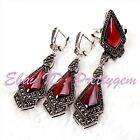 9x11mm Rhombus Red CZ Crystal Marcasite Tibetan Silver Classical Party Jewelry