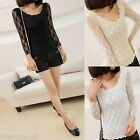 2014 Korean Women Sexy Lace Hollow Long Sleeve Short T-shirt M2389