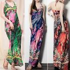 Women Dress Halter Deep V Slim Fit Maxi Summer Beach Sundress Boho Club M2703