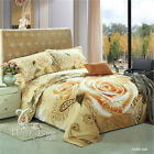 Rose Double/Queen/King Size Bed Quilt Doona Cover Set New Beige Duvet Covers
