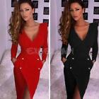 New Women Sexy Backless Long Sleeve Party Evening Slim Bodycon Mini Pencil Dress