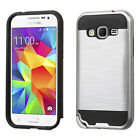 Samsung Galaxy Prevail LTE Brushed Metal HYBRID Rubber Case Cover +Screen Guard