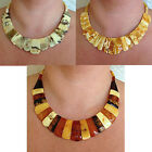 BALTIC MULTICOLOR or BUTTERSCOTCH AMBER EGYPTIAN BIB COLLAR NECKLACE CHOKER