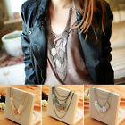 Fashion Multilayer Long Chain Leaves Charm Pendant Statement Chain Bid Necklace