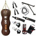Sporteq 4.5Ft 100% Brown Leather Triple Boxing Bag, Uppercut, Body,Punch Bag Set