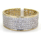 1.20ct Mens Ladies 14k Yellow Real Gold Diamond 5 Row Pave Wedding Band Ring