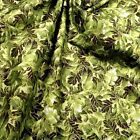 Gorgeous Metallic Gold & Avocado Green Packed Leaves Cotton Fabric by Hoffman