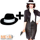 Gangster Gal + Hat Ladies Fancy Dress Mafia 1920s Womens Adults Costume Outfit