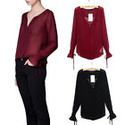 Women's Loose Sexy Chiffon Draw-string Sleeve See-Through Blouse Shirts S-L