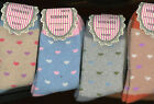 "Socks Warmest Softest Comfy Hearts fits foot 7"" to 8 1/2"" L. 12 1/2 to 3 shoe sz"