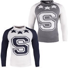 mens Soulstar S Logo Knitted Stars Jumper Crew Neck Sweater Pullover Top Size