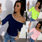 Fashion Womens Loose Pullover T Shirt Long Sleeve Cotton Top Shirt Sexy Blouse A