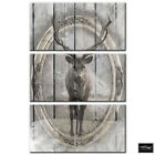 Vintage Shabbby Chic Stag Wood BOX FRAMED CANVAS ART Picture HDR 280gsm