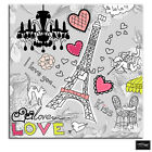 Paris Love Floral Illustration BOX FRAMED CANVAS ART Picture HDR 280gsm