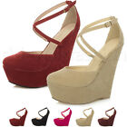 WOMENS LADIES HIGH WEDGE PLATFORM CROSSOVER BUCKLE ANKLE STRAP SANDAL SHOES SIZE