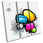 Colourful Graphics Abstract TREBLE CANVAS WALL ART Picture Print VA