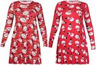 Womens Santa Snowman Printed Ladies Long Sleeve Flared Swing Christmas Dress Top