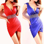 New Womens Sexy V-Neck Peplum Club Prom Party Short Bodycon Evening Mini Dress