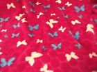 Double Sided Supersoft Cuddlesoft Fleece Fabric Material - PINK BUTTERFLIES