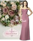 DARLING Plum Rose Strapless Satin Bridesmaid Laced Back Dress UK 6 -18