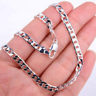 Solid 925 Sterling Silver 4mm Wide 16~30 Inch Cuban Curb Link Chain Necklace H70