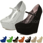 WOMENS LADIES HIGH HEEL WEDGES ANKLE STRAP PLATFORM MARY JANE FULLTOE SHOES SIZE